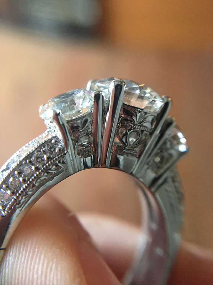 3 STONE DIAMOND RING WITH HAND ENGRAVING