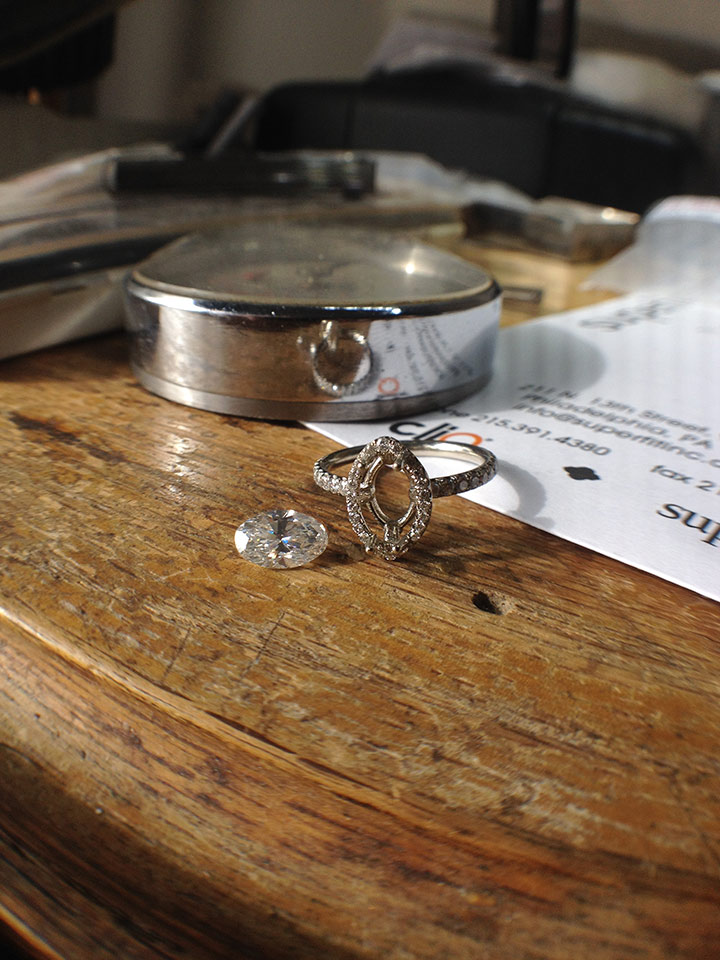 OVAL DIAMOND ENGAGEMENT RING IN PRODUCTION