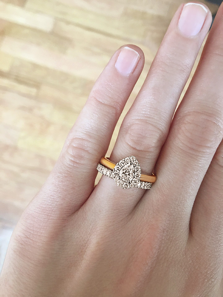 PEAR SHAPE HALO RING WITH MATCHING WEDDING BAND