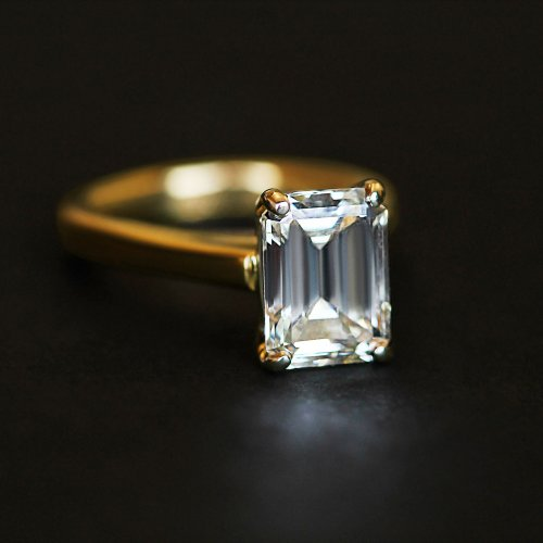 2.50 CARAT EMERALD CUT SOLITARE RING