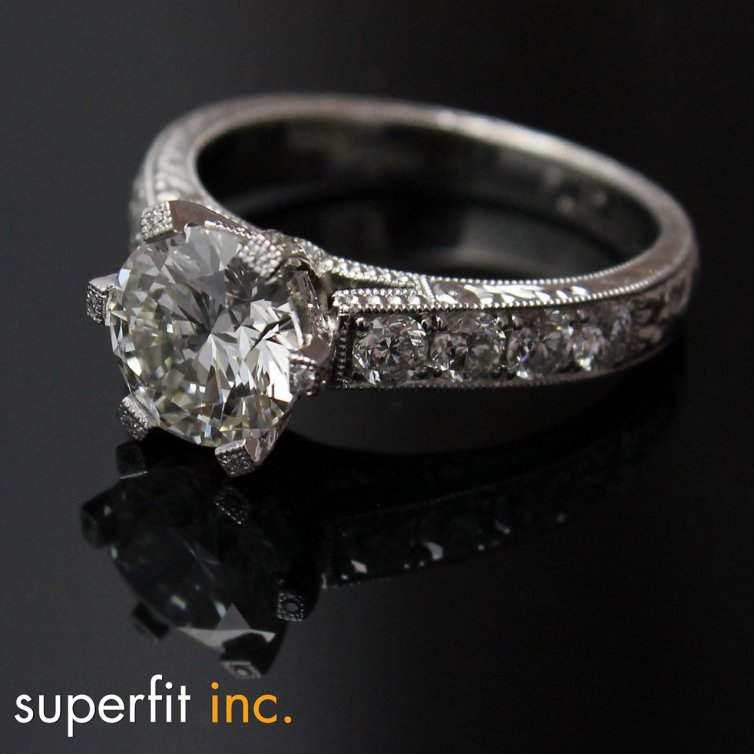 2 CARAT ROUND CUSTOM MADE DIAMOND RING WITH HAND ENGRAVING